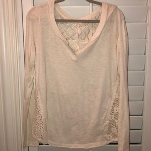 Free people lace Longsleeve tee cream/white